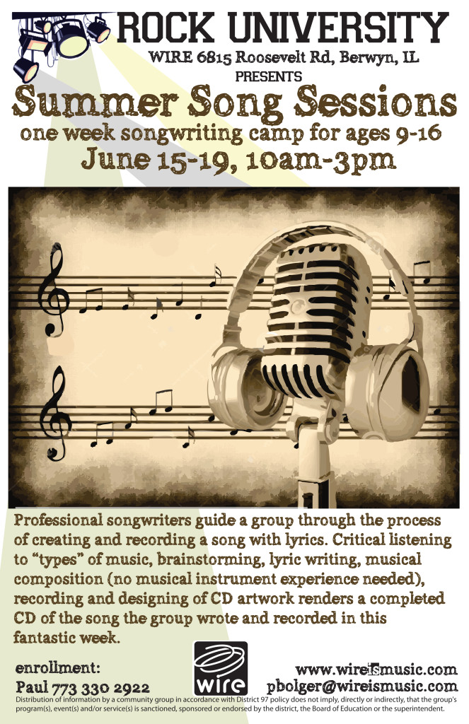 Rock U's Summer Song Sessions June 15-19!